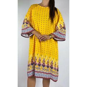 SHEIN Yellow Boho Print Shift Dress Size AU 20-22